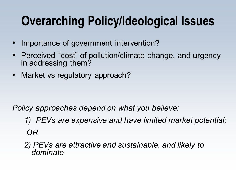 Overarching Policy/Ideological Issues Importance of government intervention.
