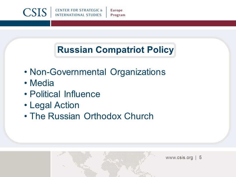|5 Russian Compatriot Policy Non-Governmental Organizations Media Political Influence Legal Action The Russian Orthodox Church