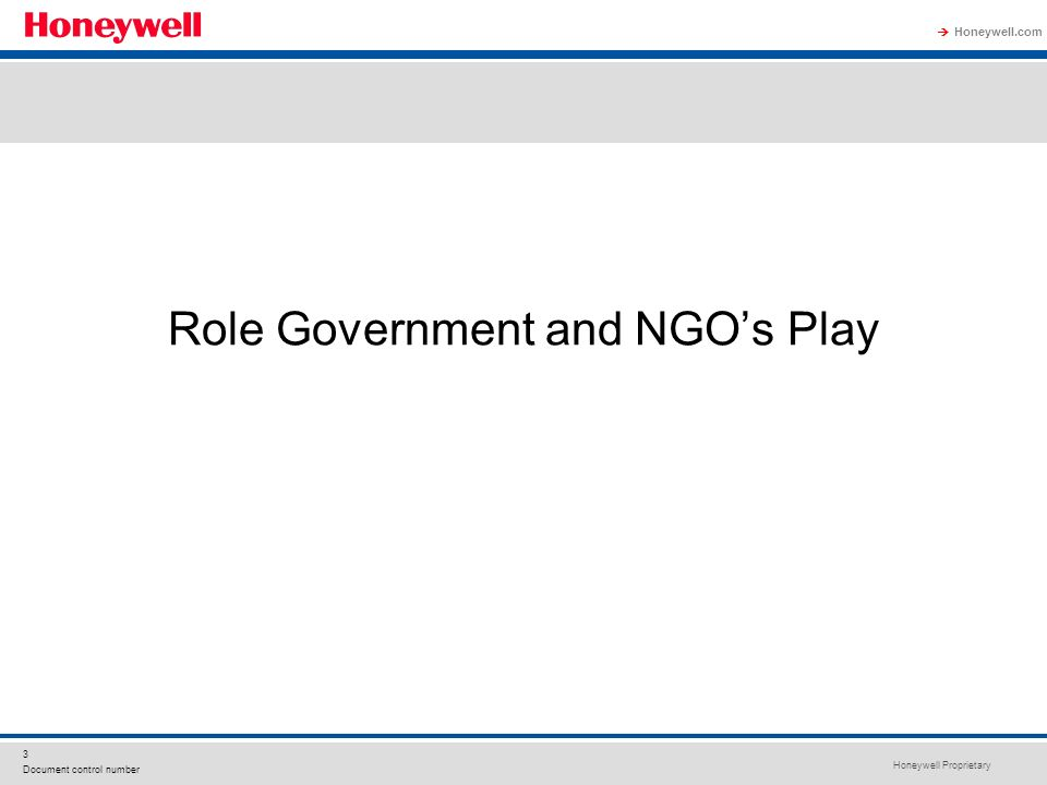 Honeywell Proprietary Honeywell.com 3 Document control number Role Government and NGOs Play