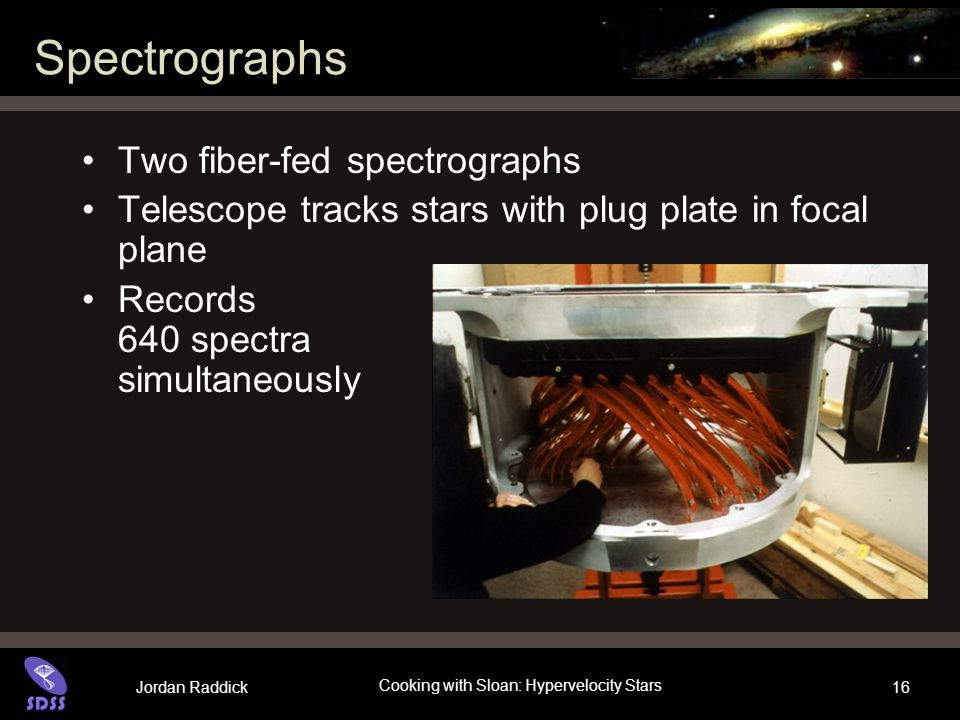 Jordan Raddick Cooking with Sloan: Hypervelocity Stars 16 Spectrographs Two fiber-fed spectrographs Telescope tracks stars with plug plate in focal plane Records 640 spectra simultaneously