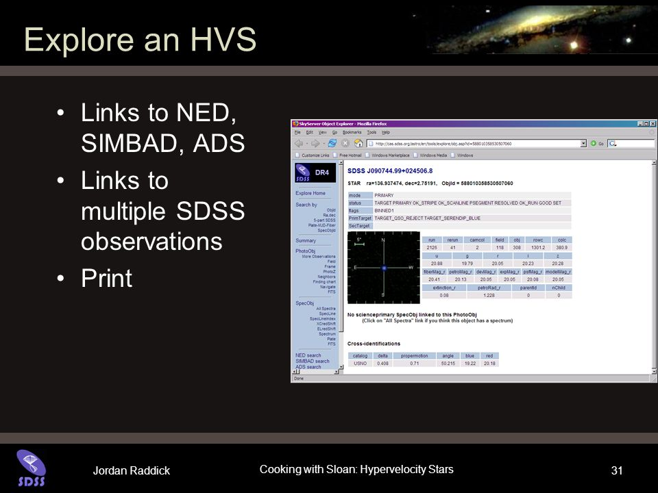 Jordan Raddick Cooking with Sloan: Hypervelocity Stars 31 Explore an HVS Links to NED, SIMBAD, ADS Links to multiple SDSS observations Print