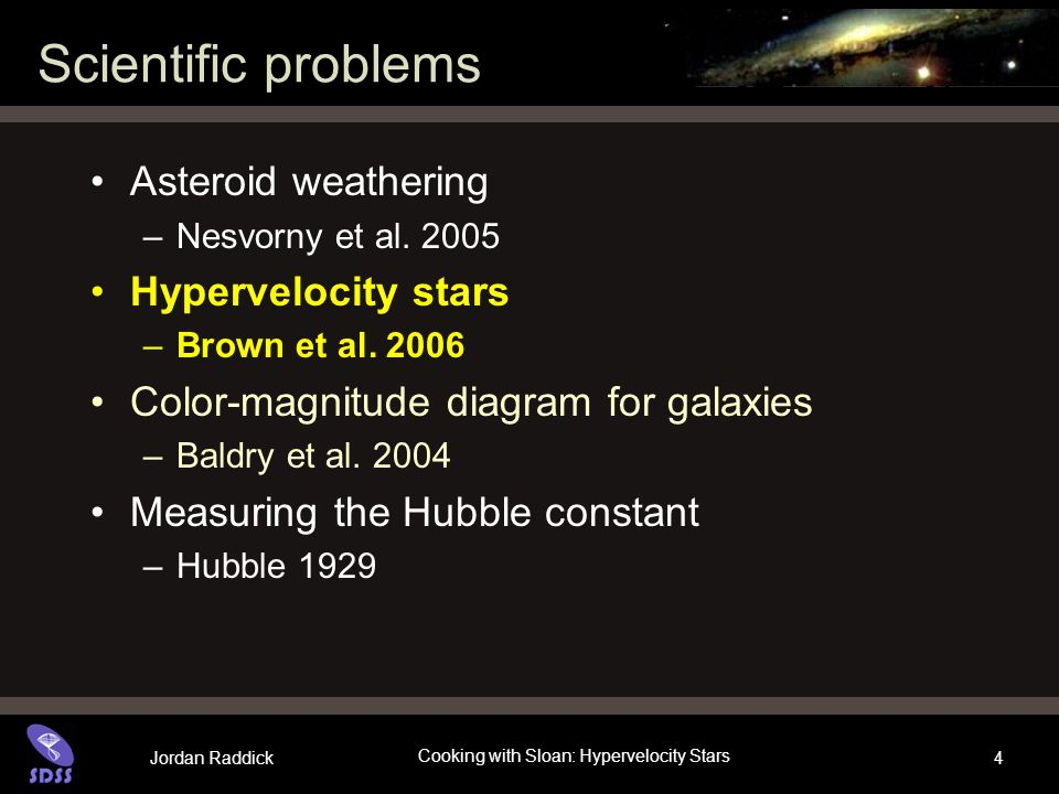 Jordan Raddick Cooking with Sloan: Hypervelocity Stars 4 Scientific problems Asteroid weathering –Nesvorny et al.