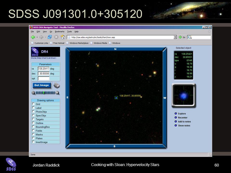 Jordan Raddick Cooking with Sloan: Hypervelocity Stars 60 SDSS J091301.0+305120