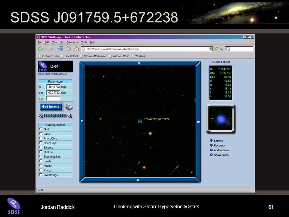 Jordan Raddick Cooking with Sloan: Hypervelocity Stars 61 SDSS J091759.5+672238