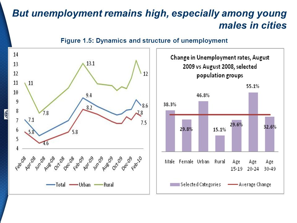 But unemployment remains high, especially among young males in cities Figure 1.5: Dynamics and structure of unemployment