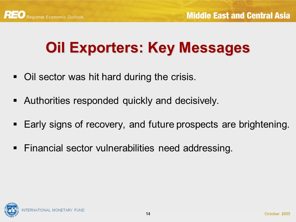 INTERNATIONAL MONETARY FUND October Oil sector was hit hard during the crisis.