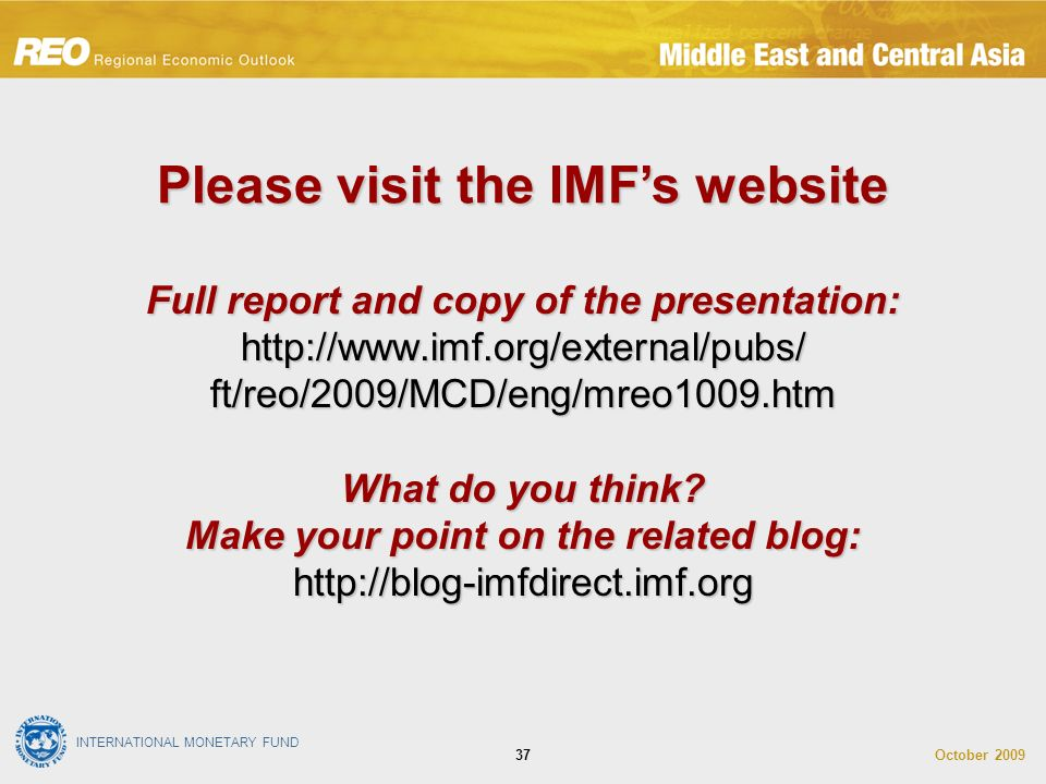 INTERNATIONAL MONETARY FUND October Full report and copy of the presentation:   ft/reo/2009/MCD/eng/mreo1009.htm What do you think.