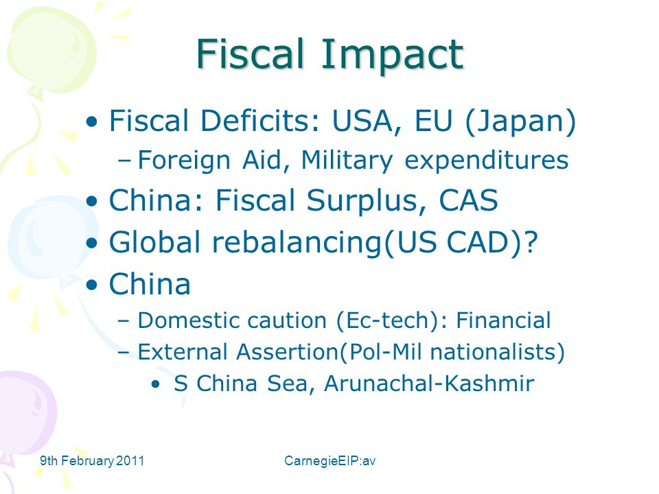 9th February 2011CarnegieEIP:av Fiscal Impact Fiscal Deficits: USA, EU (Japan) –Foreign Aid, Military expenditures China: Fiscal Surplus, CAS Global rebalancing(US CAD).