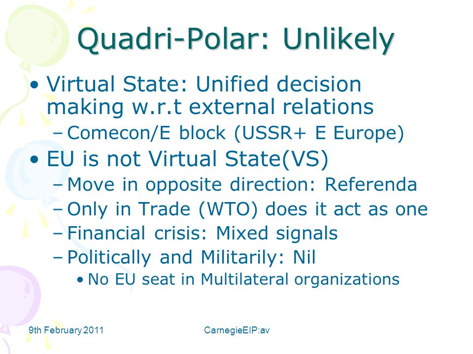 9th February 2011CarnegieEIP:av Quadri-Polar: Unlikely Virtual State: Unified decision making w.r.t external relations –Comecon/E block (USSR+ E Europ