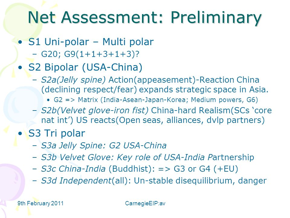 9th February 2011CarnegieEIP:av Net Assessment: Preliminary S1 Uni-polar – Multi polar –G20; G9( ).