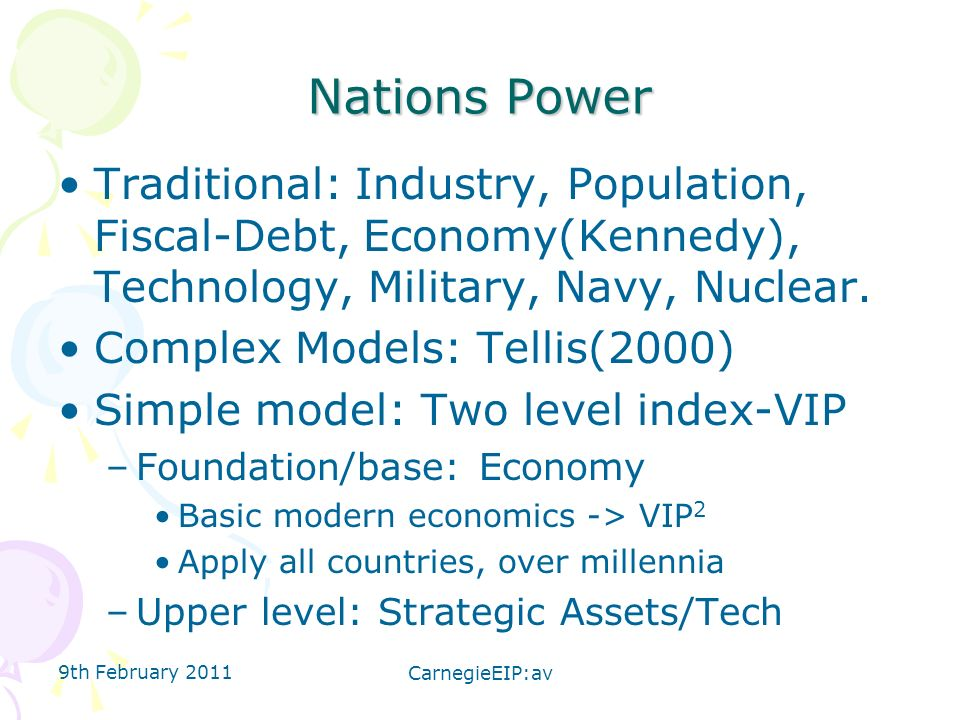 Nations Power Traditional: Industry, Population, Fiscal-Debt, Economy(Kennedy), Technology, Military, Navy, Nuclear. Complex Models: Tellis(2000) Simp