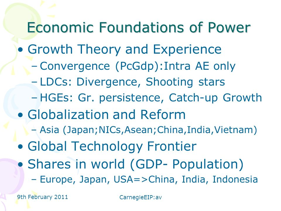 Economic Foundations of Power Growth Theory and Experience –Convergence (PcGdp):Intra AE only –LDCs: Divergence, Shooting stars –HGEs: Gr.
