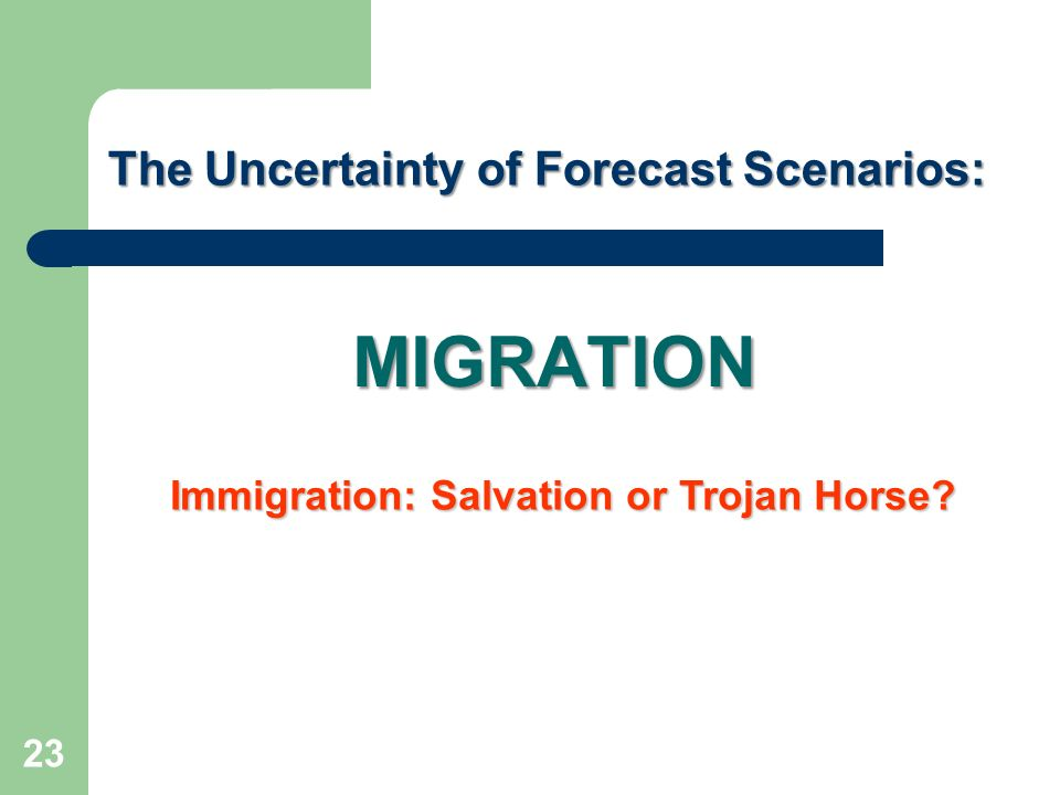 MIGRATION The Uncertainty of Forecast Scenarios: 23 Immigration: Salvation or Trojan Horse?