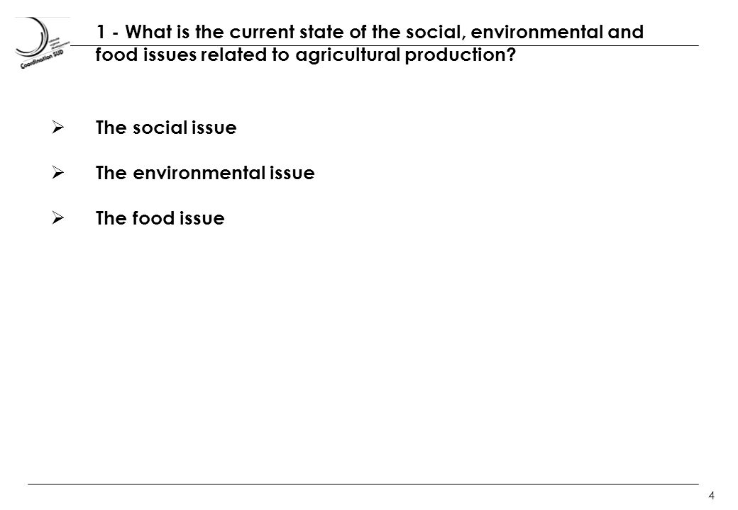 4 1 - What is the current state of the social, environmental and food issues related to agricultural production.