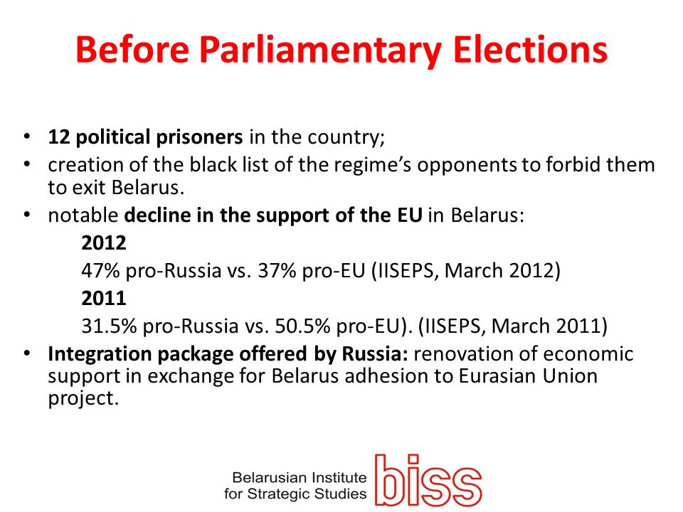 Before Parliamentary Elections 12 political prisoners in the country; creation of the black list of the regimes opponents to forbid them to exit Belarus.
