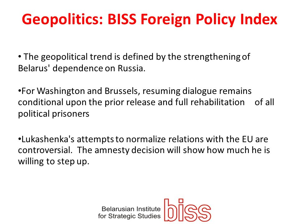 Geopolitics: BISS Foreign Policy Index The geopolitical trend is defined by the strengthening of Belarus dependence on Russia.