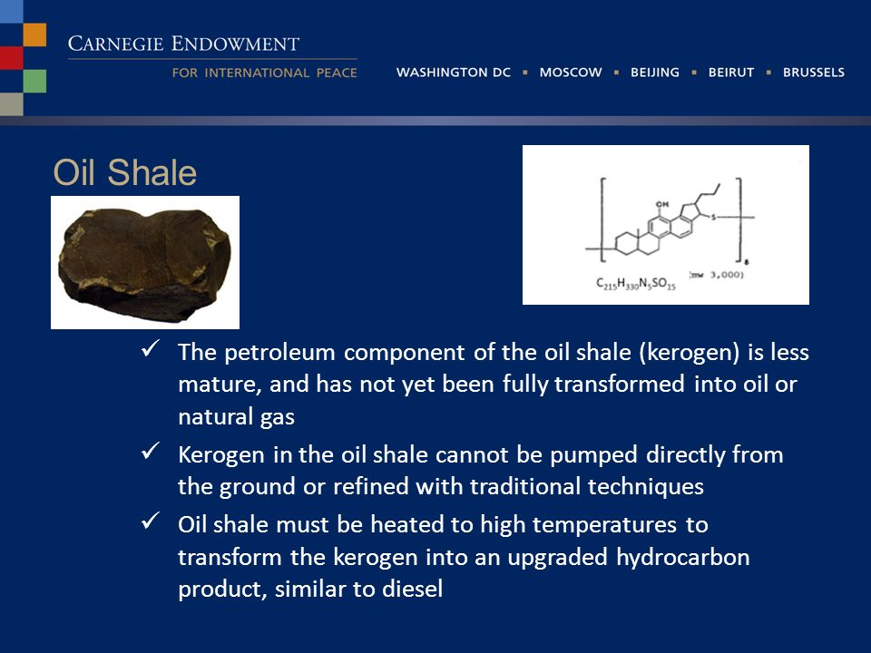 Oil Shale The petroleum component of the oil shale (kerogen) is less mature, and has not yet been fully transformed into oil or natural gas Kerogen in the oil shale cannot be pumped directly from the ground or refined with traditional techniques Oil shale must be heated to high temperatures to transform the kerogen into an upgraded hydrocarbon product, similar to diesel