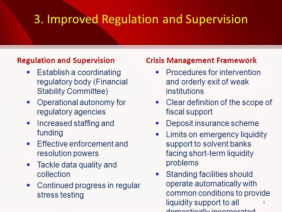 3. Improved Regulation and Supervision Regulation and Supervision Establish a coordinating regulatory body (Financial Stability Committee) Operational