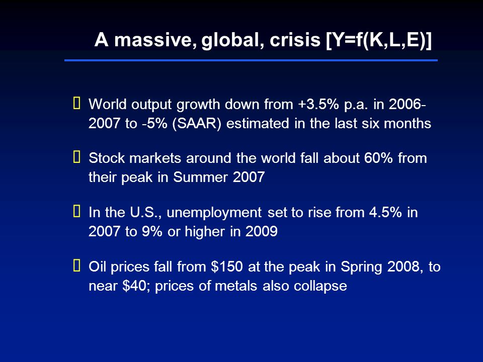 A massive, global, crisis [Y=f(K,L,E)] World output growth down from +3.5% p.a. in 2006- 2007 to -5% (SAAR) estimated in the last six months Stock mar