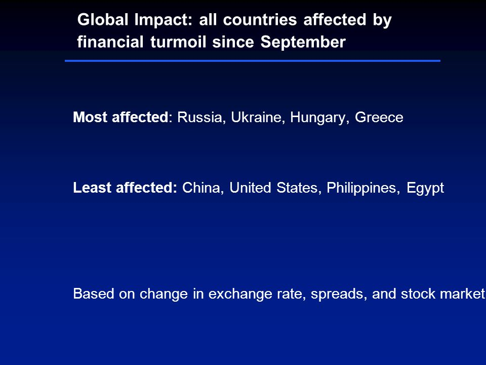 Global Impact: all countries affected by financial turmoil since September Most affected: Russia, Ukraine, Hungary, Greece Least affected: China, Unit