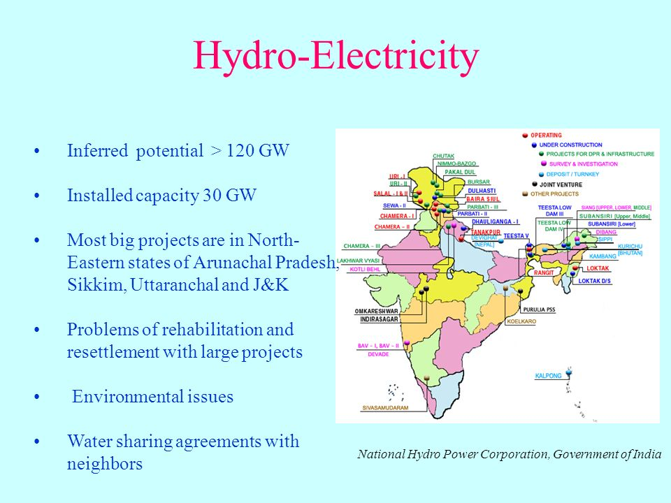 Hydro-Electricity Inferred potential > 120 GW Installed capacity 30 GW Most big projects are in North- Eastern states of Arunachal Pradesh, Sikkim, Uttaranchal and J&K Problems of rehabilitation and resettlement with large projects Environmental issues Water sharing agreements with neighbors National Hydro Power Corporation, Government of India