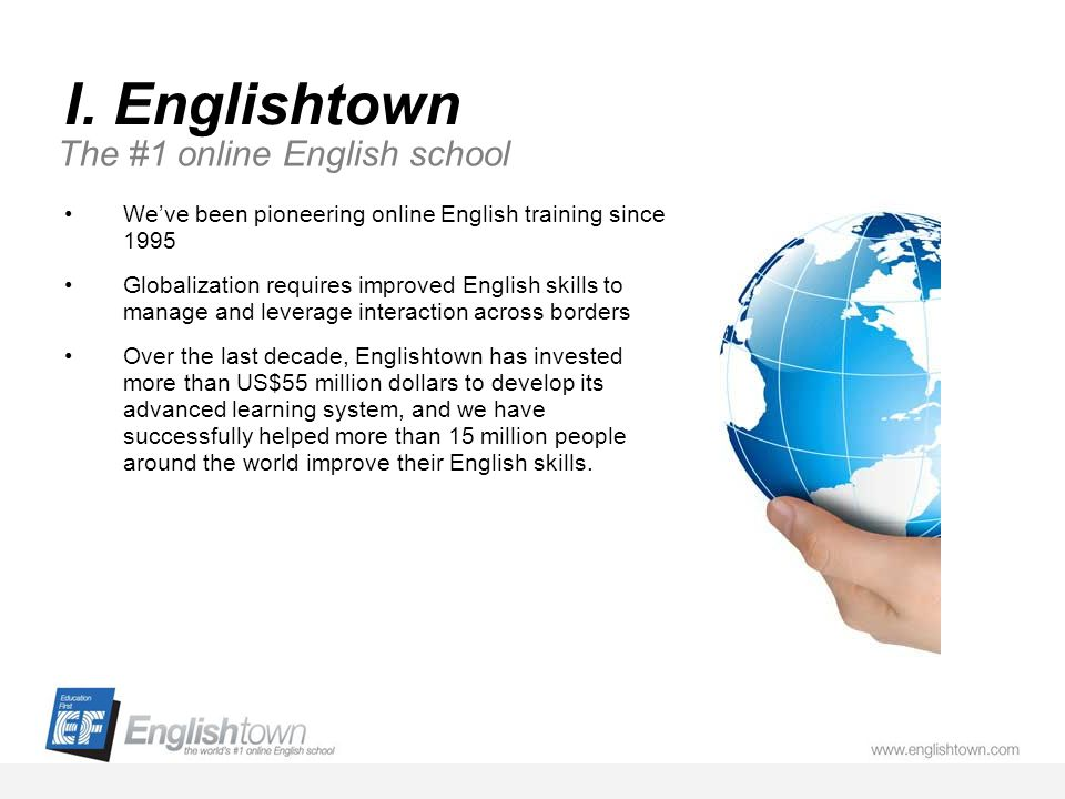 I. Englishtown Weve been pioneering online English training since 1995 Globalization requires improved English skills to manage and leverage interacti