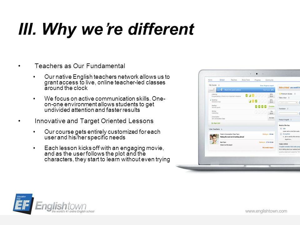 III. Why were different Teachers as Our Fundamental Our native English teachers network allows us to grant access to live, online teacher-led classes