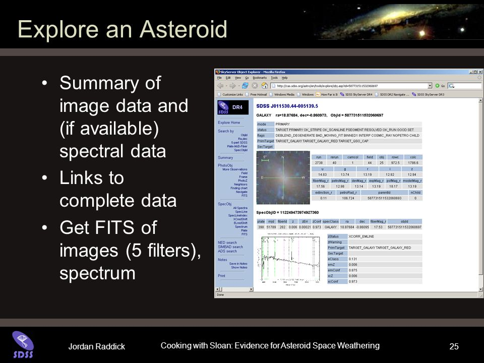 Jordan Raddick Cooking with Sloan: Evidence for Asteroid Space Weathering 25 Explore an Asteroid Summary of image data and (if available) spectral dat