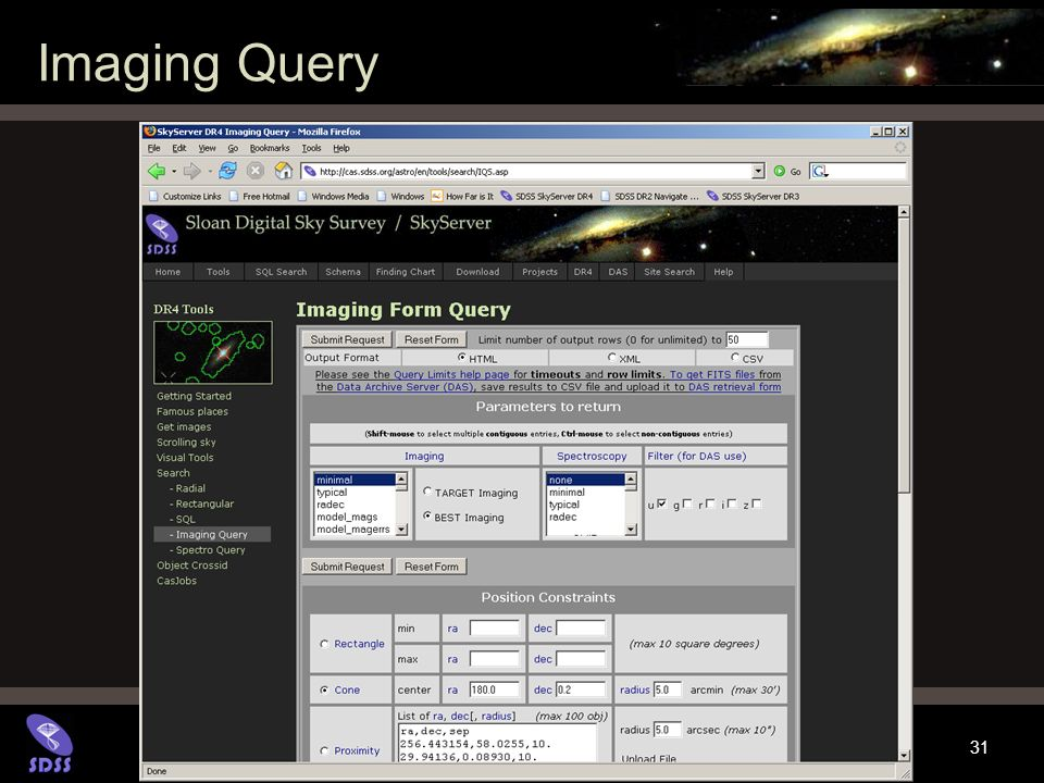 Jordan Raddick Cooking with Sloan: Evidence for Asteroid Space Weathering 31 Imaging Query