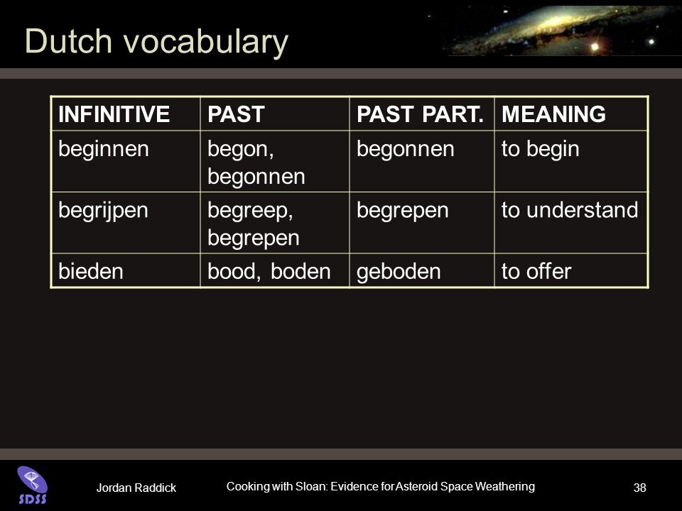 Jordan Raddick Cooking with Sloan: Evidence for Asteroid Space Weathering 38 Dutch vocabulary INFINITIVEPASTPAST PART.MEANING beginnenbegon, begonnen