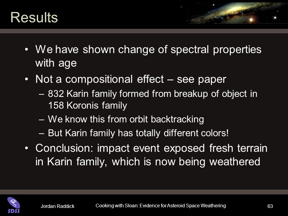 Jordan Raddick Cooking with Sloan: Evidence for Asteroid Space Weathering 63 Results We have shown change of spectral properties with age Not a compos