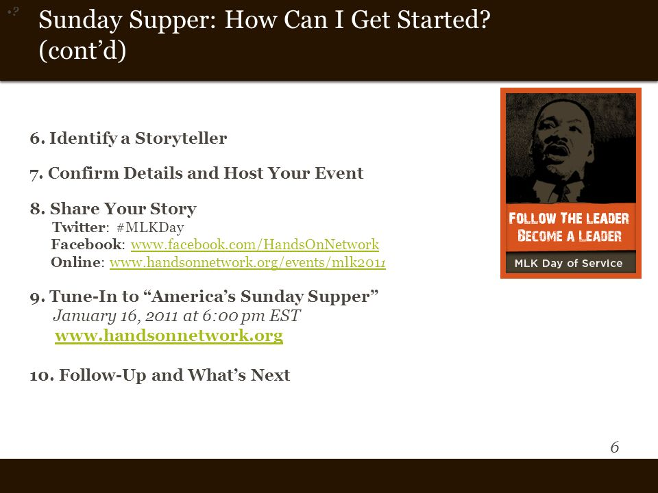 6 Vision and Them e Sunday Supper: How Can I Get Started.