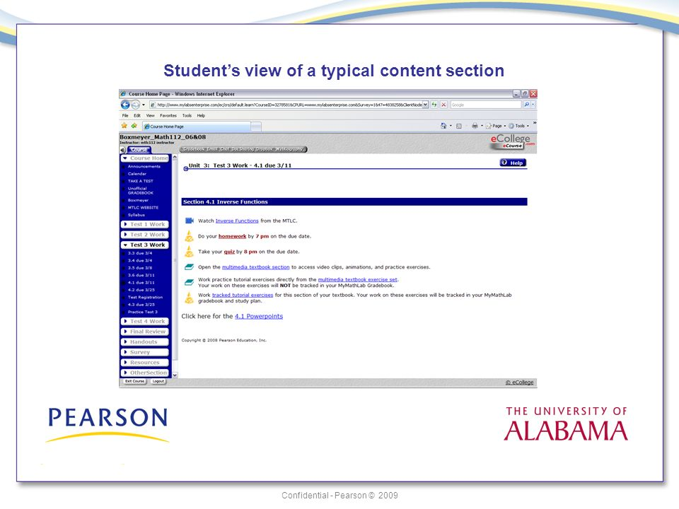Confidential - Pearson © 2009 Students view of a typical content section
