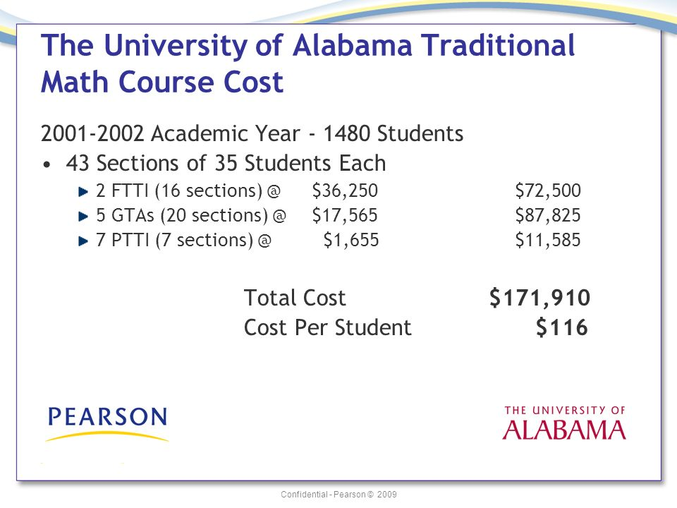Confidential - Pearson © 2009 The University of Alabama Traditional Math Course Cost 2001-2002 Academic Year - 1480 Students 43 Sections of 35 Student
