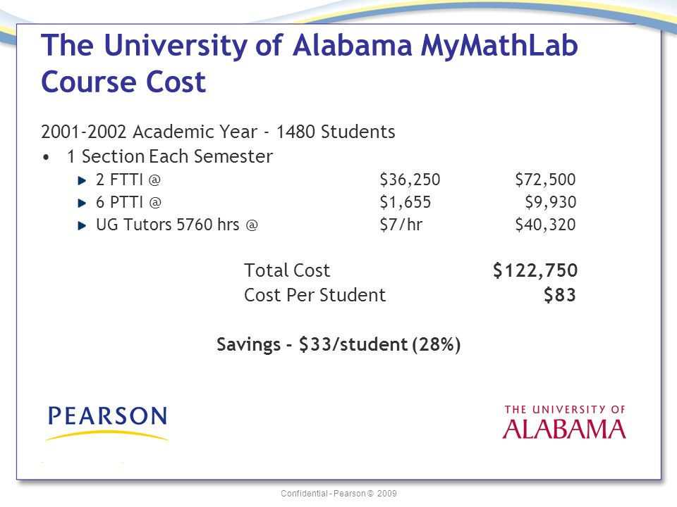 Confidential - Pearson © 2009 The University of Alabama MyMathLab Course Cost 2001-2002 Academic Year - 1480 Students 1 Section Each Semester 2 FTTI @ $36,250 $72,500 6 PTTI @ $1,655 $9,930 UG Tutors 5760 hrs @ $7/hr $40,320 Total Cost $122,750 Cost Per Student $83 Savings - $33/student (28%)