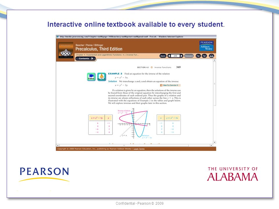 Confidential - Pearson © 2009 Interactive online textbook available to every student.