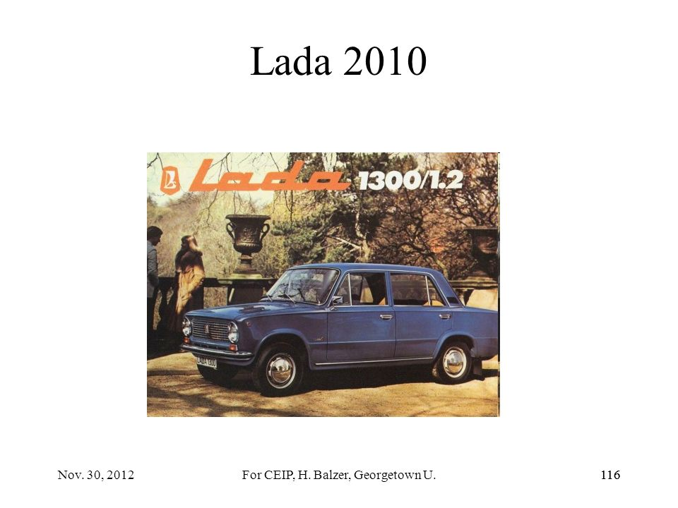 115 Lada C Concept Car 115Nov. 30, 2012For CEIP, H. Balzer, Georgetown U.