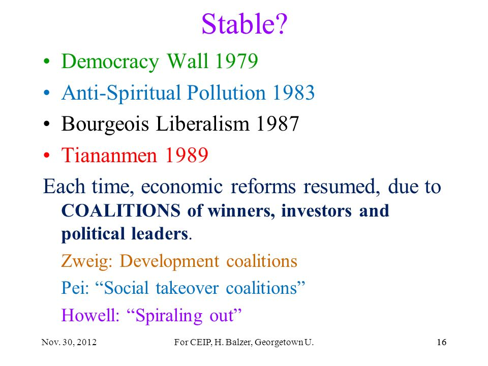 15 Gradualism? USSR 30 years of reforms. Hungary goulash communism China Rapid de-collectivization Fevers and intense competition resulting from parti