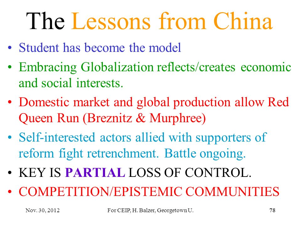 AVOID IDEALIZING CHINA Not yet product innovation (though rapid manufacturing changes; Red Queen) Much assembly of foreign components Competition also