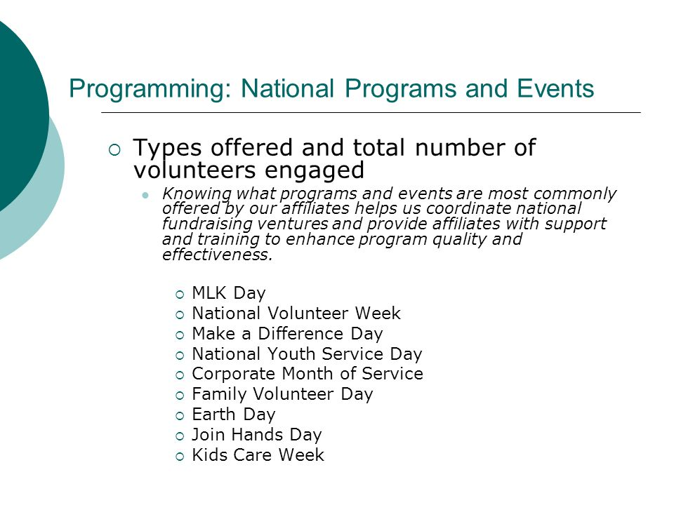 Programming: National Programs and Events Types offered and total number of volunteers engaged Knowing what programs and events are most commonly offered by our affiliates helps us coordinate national fundraising ventures and provide affiliates with support and training to enhance program quality and effectiveness.