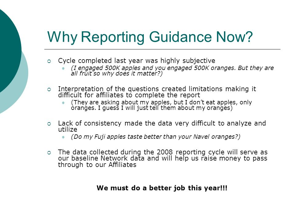 Why Reporting Guidance Now.