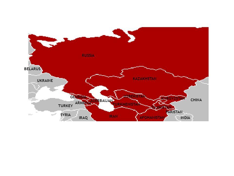RUSSIA BELARUS UKRAINE TURKEY GEORGIA KAZAKHSTAN UZBEKISTAN KYRGYZSTAN AZERBAIJAN IRAN SYRIA IRAQ CHINA INDIA PAKISTAN ARMENIA TURKMENISTAN TAJIKISTAN AFGHANISTAN