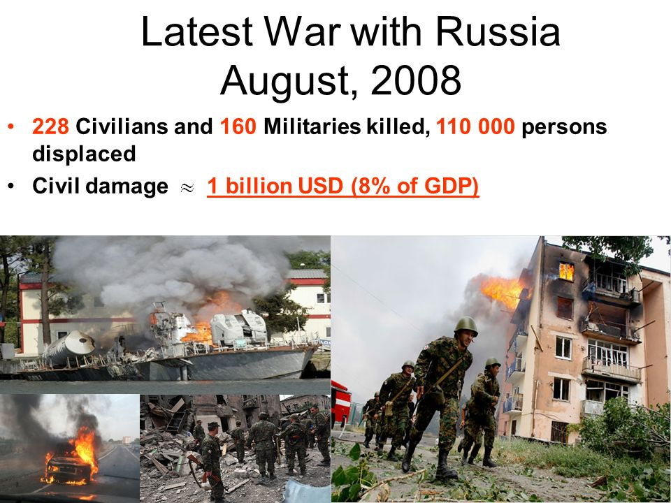Latest War with Russia August, Civilians and 160 Militaries killed, persons displaced Civil damage 1 billion USD (8% of GDP)