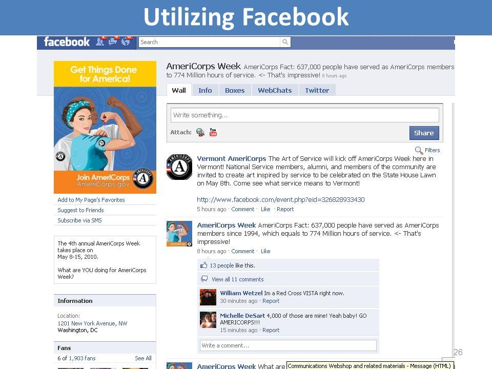 Utilizing Facebook 26