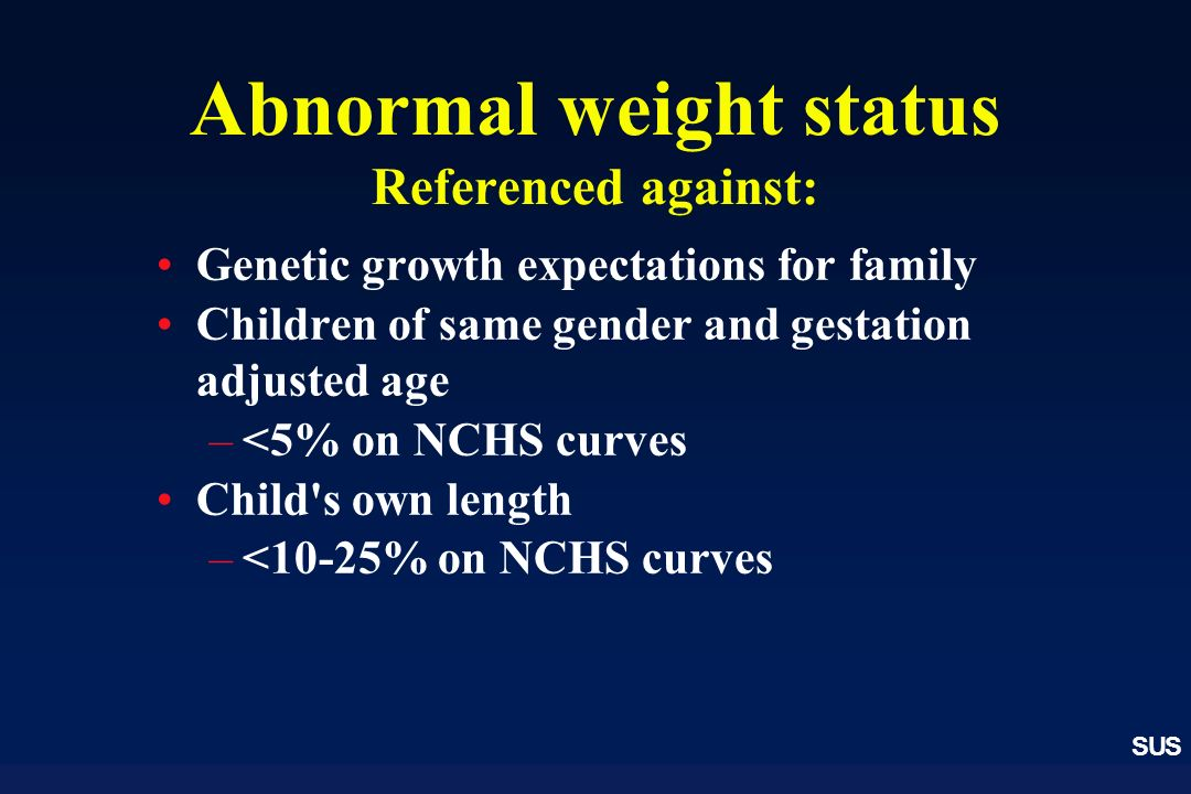 SUS Abnormal weight status Referenced against: Genetic growth expectations for family Children of same gender and gestation adjusted age –<5% on NCHS curves Child s own length –<10-25% on NCHS curves