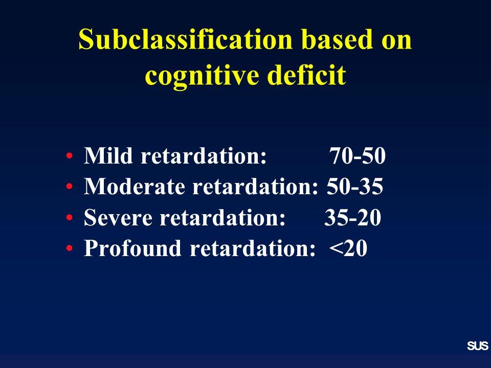 SUS Subclassification based on cognitive deficit Mild retardation: 70-50 Moderate retardation: 50-35 Severe retardation: 35-20 Profound retardation: <