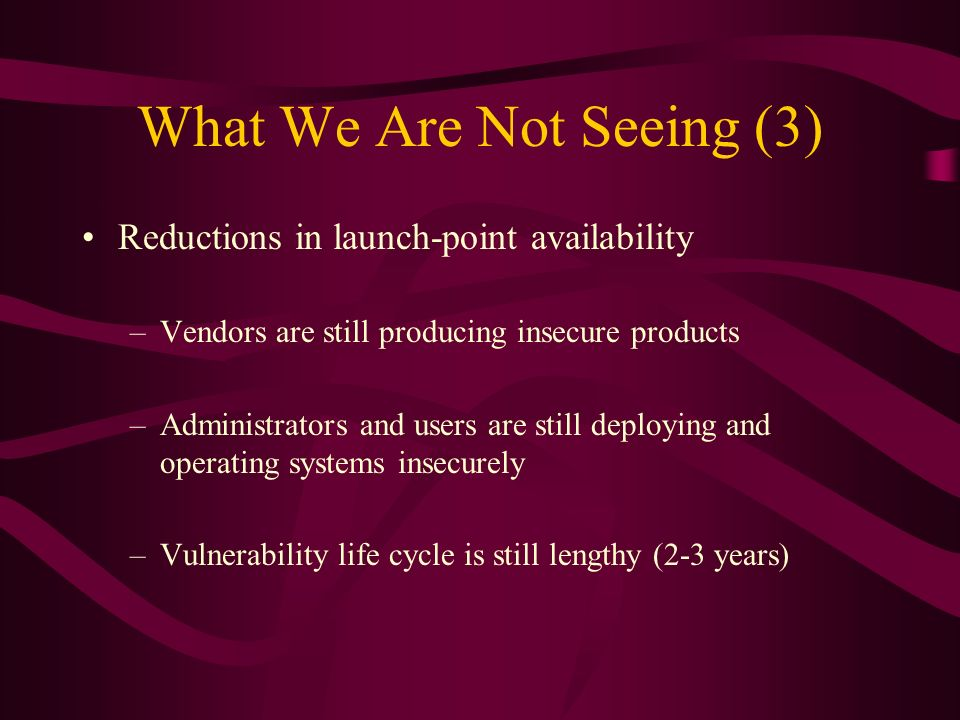 What We Are Not Seeing (3) Reductions in launch-point availability –Vendors are still producing insecure products –Administrators and users are still