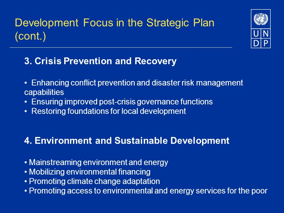 3. Crisis Prevention and Recovery Enhancing conflict prevention and disaster risk management capabilities Ensuring improved post-crisis governance fun
