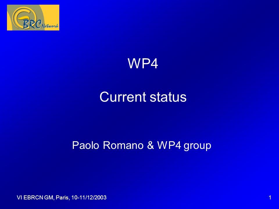 VI EBRCN GM, Paris, 10-11/12/20031 WP4 Current status Paolo Romano & WP4 group Questa presentazione può essere utilizzata come traccia per una discussione con gli spettatori, durante la quale potranno essere assegnate delle attività.