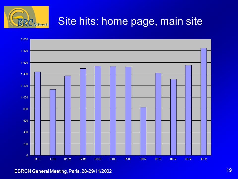 EBRCN General Meeting, Paris, 28-29/11/2002 19 Site hits: home page, main site